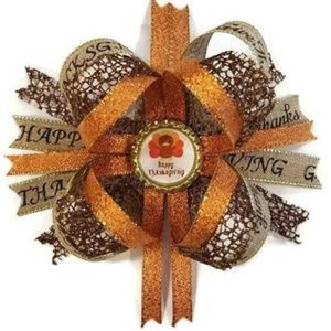 """Other - Happy Thanksgiving 6"""" Boutique Stacked Hair Bow"""
